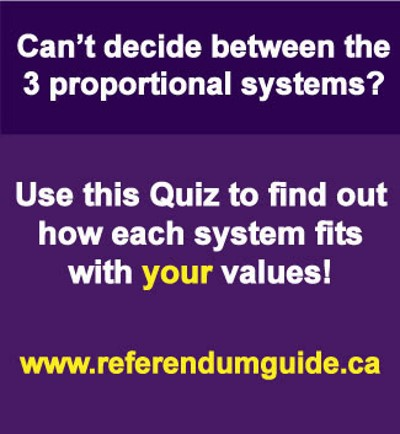 Link to quiz for choosing one of three proportional representation choices on the referendum ballot.